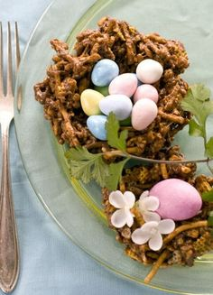 Chocolate nest desserts for Easter