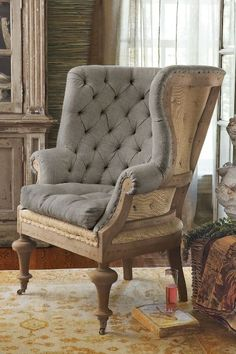 Oise Bergere Chair French Stripe Upholstered Chair