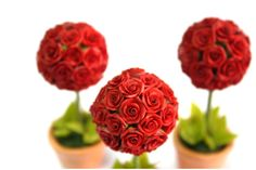 Miniature Roses Polymer Clay Flowers Supplies Topiary 1 pcs. $9.50, via Etsy.