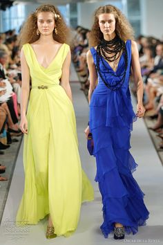 nice styles for bridemaids dresses - by oscar de la renta. not a fan of these shades though.