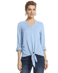 Chico's Madison Tie-Front Top #chicos#chicossweeps