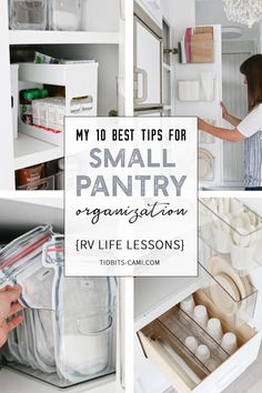 My 10 Best Tips for Small Pantry Organization Sustainable and practical ideas to organize and keep your tiny pantry cupboard organized and lookin' good! Lessons learned while I had to make the most of every inch of space while living in our RV with a fami Small Pantry Cabinet, Tiny Pantry, Small Pantry Organization, Kitchen Pantry Design, Pantry Cupboard, Kitchen Pantry Cabinets, Pantry Storage, Kitchen Tops, Diy Kitchen