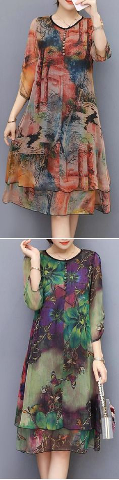 Vintage Floral Printed Sleeves Fake Two Pieces Dresses Boho Outfits, Fashion Outfits, Womens Fashion, Dress Skirt, Dress Up, Beauty And Fashion, Mode Hijab, Two Piece Dress, Vintage Floral