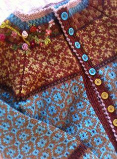 wiolakofta wiola kofta Fair Isle Knitting Patterns, Fair Isle Pattern, Knit Patterns, Crochet Fall, Crochet Woman, Knit Crochet, Norwegian Knitting, Fair Isles, Bunt