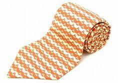HERMES tie yacht pattern 100% silk Orange Ivory
