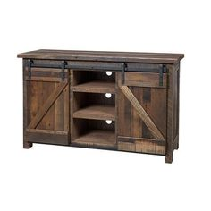 Amish Reclaimed Barndoor TV Stand Rustic style storage for your media collection. Tuck movies, music and more behind attractive Z style barn doors. This wood furniture is durable and full of function. Handcrafted in an Amish woodshop. #TVstand #mediastorage