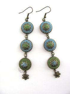 Dangle long crochet silk blue green original earrings / flower power / unique design / neo-victorian, bohemian, feminine, romantic jewelry