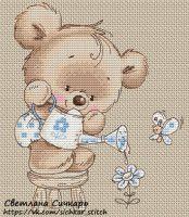 Gallery.ru / Мишка с цветком - Бесплатные схемы - Sichkar