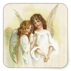 #Vintage #Christmas #Angels #Sticker  two cute vintage christmas angels.  thanks to the customer!