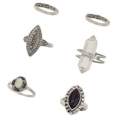 Miss Selfridge Grunge Shard Ring Pack ($23) ❤ liked on Polyvore featuring jewelry, silver color, grunge jewelry and miss selfridge