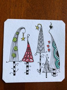 Watercolor Christmas Cards, Christmas Drawing, Christmas Paintings, Watercolor Cards, Christmas Doodles, Diy Christmas Cards, Christmas Art, Doodle Drawings, Doodle Art