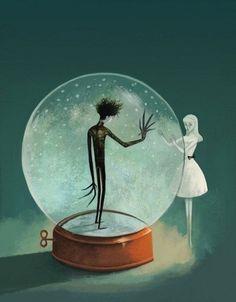Edward Scissorhands in a snow globe