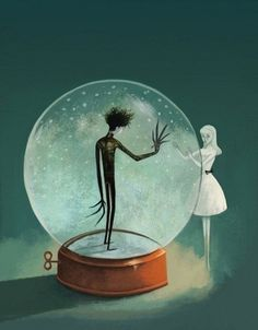 Edward Scissorhands in a snow globe