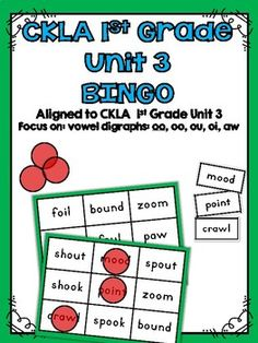 CKLA Skills 1st Grade Unit 3 BINGOThis activity is great for stations and workshops. The specific vowel digraphs (oo, oo, ou, oi, aw)  in this activity come from the CKLA 1st Grade Skills Unit 3.Includes 8 different BINGO cards featuring vowel digraph words with sounds that are learned in unit 3Includes one master sheet of all words to use for the BINGO callerCheck out all of my other CKLA Resources too!