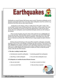 Earthquake Worksheet for Kids Earthquakes Worksheet Free Esl Printable Worksheets Made English Writing Skills, English Reading, English Lessons, Essay Writing, Learn English, English Articles For Reading, Reading Comprehension Activities, Reading Worksheets, Reading Passages