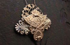 Roman Fan Necklace  Antique Brass Stamping Collage by OzBrooklyn