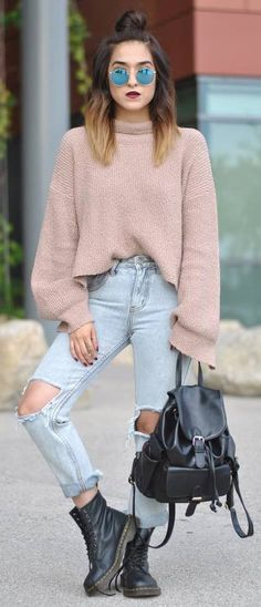 street style addiction / blush sweater   rips   bag   boots