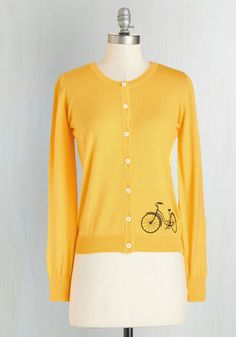 Bicycle Education Cardigan - Yellow, Work, Casual, Vintage Inspired, 50s, Quirky, Long Sleeve, Crew, Yellow, Long Sleeve, Short, Buttons