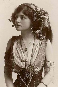 Vintage Picture of Bohemian Gypsy. Lovely old picture so looks so serene in all her finery.