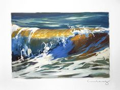 """Gold Froth"" Oil Painting on Paper Oil Painting On Paper, Watercolor Paper, Oil Paintings, Shore Break, Moving Water, Paper News, Wave Art, Surf Art, Ocean Art"