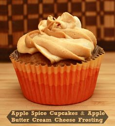 Apple Butter Spice Cupcake with Apple Butter Cream Cheese Frosting.