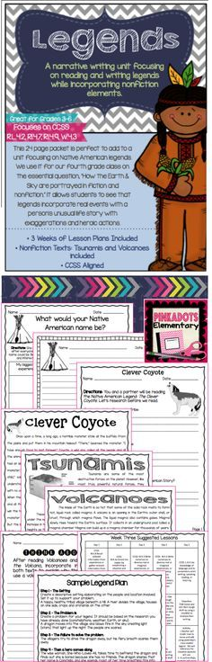 "3+ weeks of lessons plans included! This 24 page packet is perfect to add to a unit focusing on Native American legends. We use it for our fourth grade class on the essential question, ""How the Earth & Sky are portrayed in fiction and nonfiction."" It allows students to see that legends incorporate real events with a person's unusual life story with exaggerations and heroic actions."