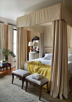 Room of the Day ~ taupe canopy, exquisite wallpaper, yellow throw in this inviting bedroom by Michael S. Smith 8.14.2014