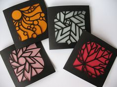 from nib & tuck via felt & wire : stained glass four seasons cards