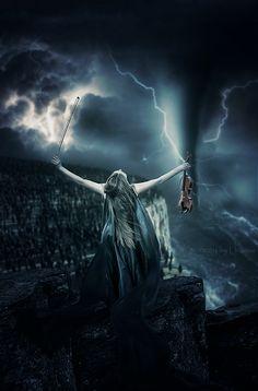Electric Violin With Amplifier Violin Photography, Dark Photography, Gothic Fantasy Art, Dark Fantasy, Fantasy Women, Anime Fantasy, Gothic Pictures, Electric Violin, Beautiful Dark Art