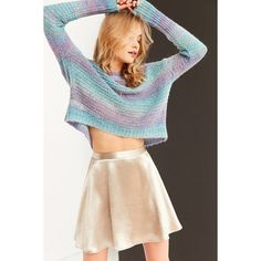 Ecote Daybreak Gradient Stripe Sweater (€28) ❤ liked on Polyvore featuring tops, sweaters, boho sweater, cropped sweater, crew neck sweaters, pullover sweaters and hand knitted sweaters