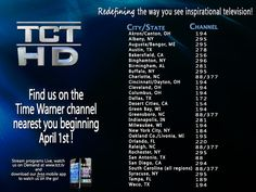 Find the TCT Network on a Time Warner channel nearest you beginning Monday, April 1st! Visit TWC or www.tct.tv to check your local listings & viewing times.