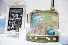 Honeymoon fund vintage suitcase