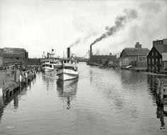 """Circa 1905. """"Port Huron, Michigan -- Black River."""""""