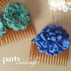 crochet flower hair clip handmade @Partyandcraft