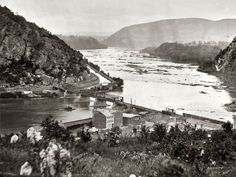 "1865. ""Harpers Ferry, West Virginia. View of Maryland Heights at confluence of Shenandoah and Potomac rivers."" Wet plate glass negative (detail) by James Gardner. Civil War glass negative collection, Library of Congress."