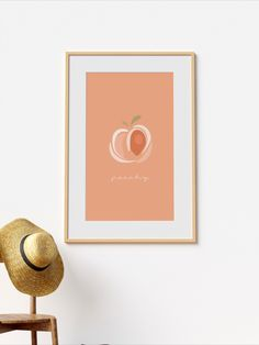 This amazingly minimal illustration is perfect when framed. All Illustrations were made by us, LadiesMinimal from scratch, without using any premade elements. Peach Colors, Minimalism, Illustrations, Unique Jewelry, Frame, Handmade Gifts, Happy, Cute, Poster
