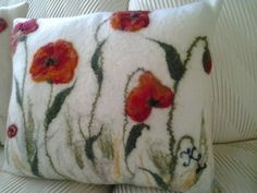 Red Poppies on White - wet felted decorative pillow by Larissa Kielak.