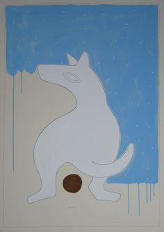 """andrea mattiello """"sguardo altrove""""    acrilico e grafite su cartone vegetale cm 72x103; 2012"""