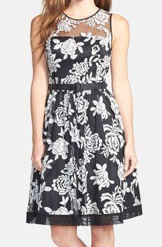 Eliza J | Floral Embroidered Fit & Flare Dress #dress #floral