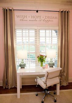 """Wish Hope Dream Then Make It Happen"" vinyl lettering home decor decal! See more office decor ideas at www.lacybella.com"