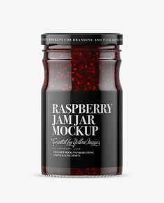 Clear Glass Raspberry Jam Jar Mockup
