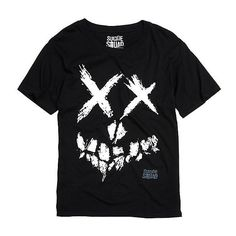 DC Comics Suicide Squad Smiley Skull Logo T-Shirt Hot Topic ($17) ❤ liked on Polyvore featuring tops and t-shirts