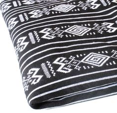 Black and White Mexican Woven Fabric 1 by Mexicanfabricfashion