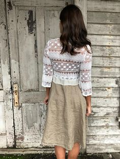 "Romantic/Tattered/Rustic/Boho/Gypsy upper part of dress is made with cotton/nylon lower part is made with cotton/linen and has pocket along front Size-small medium chest-34"" hips-free length-39"""