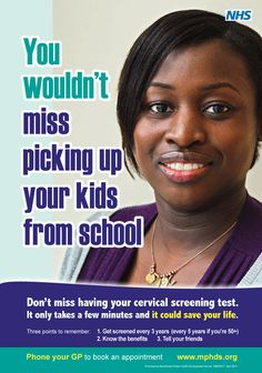 Cervical Screening awareness poster from Manchester Public Health Development Service