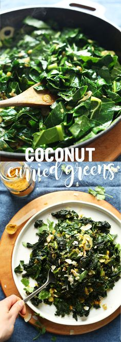 AMAZING Coconut Curried Greens in just 30 minutes! BIG flavor, so healthy, and SO delicious! These will be my New Years Day greens this year.