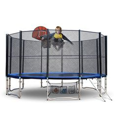 Up-Shot Round Trampoline FREE Basketball Set Safety Net Spring Pad Cover Ladder - 9348948009664 For Sale, Buy from Trampolines collection at MyDeal for best discounts. 12ft Trampoline, Trampoline Basketball, Free Basketball, Double Lock, Knock On The Door, Shop Up, Trampolines, Galvanized Steel, Steel Frame