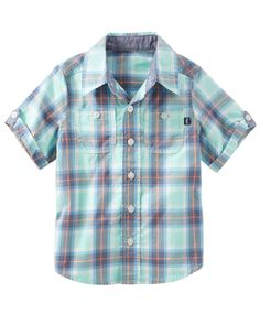 Toddler Boy 2-Pocket Plaid Button-Front Shirt from OshKosh B'gosh. Shop clothing & accessories from a trusted name in kids, toddlers, and baby clothes.