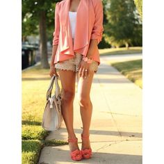 would SO wear this / CORAL ! Coral ! coral outfit via Polyvore
