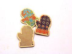 DIY wooden cross stitch blanks mittens / by TinyLizardGifts